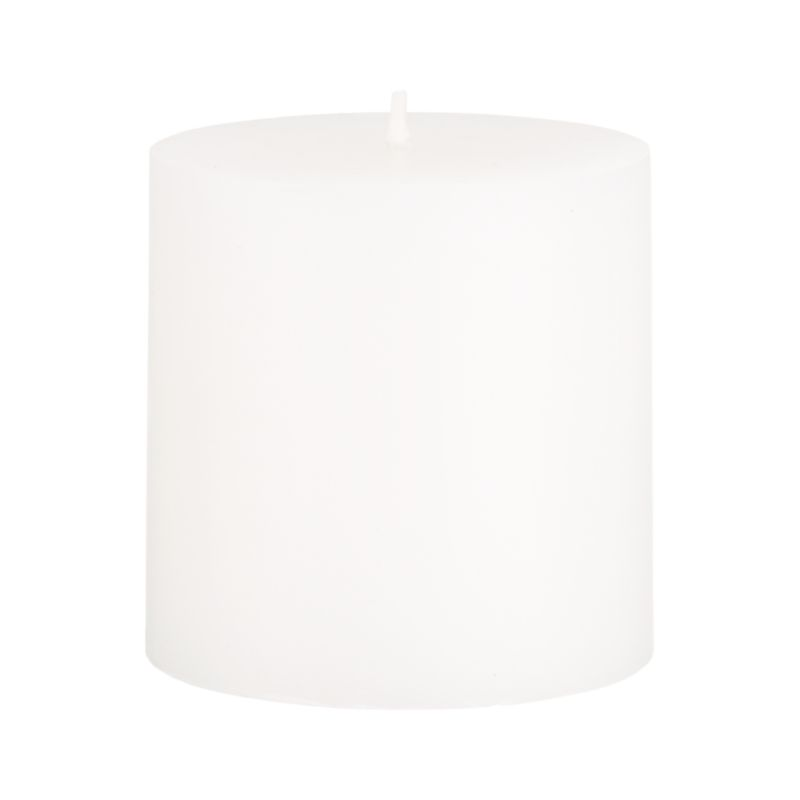 Stock up on the classic white pillar candle, in a variety of sizes.<br /><ul><li>Paraffin wax</li><li>Cotton wick</li><li>Unscented</li><li>Burn time: 32 hours</li><li>Made in India</li></ul><NEWTAG/>