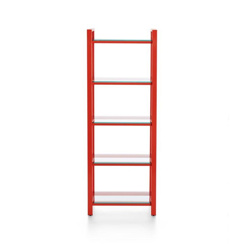 An architectural collection with urban edge at a smart value, Pilsen is defined by its industrial mix of glass and steel with modern angles. A minimalist frame of rectangular iron tubing finished in sleek red-orange powdercoat, the clean-lined storage tower floats five glass shelves. <NEWTAG/><ul><li>Iron tube frame with high-gloss red-orange powdercoat finish</li><li>Tempered glass shelves</li><li>Levelers</li><li>Designed and tested for use in commercial spaces</li><li>Made in China</li></ul><br />