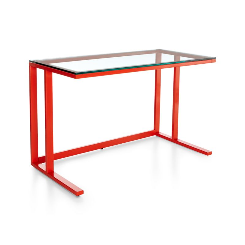 Pilsen is an architectural, urban-inflected collection defined by its industrial mix of glass and steel with modern angles. A glass surface floats over a minimalist frame of rectangular iron tubing finished in sleek red-orange powdercoat. <NEWTAG/><ul><li>Iron tube frame with high-gloss red-orange powdercoat finish</li><li>Tempered glass top</li><li>Levelers</li><li>Designed and tested for use in commercial spaces</li><li>Made in China</li></ul><br />