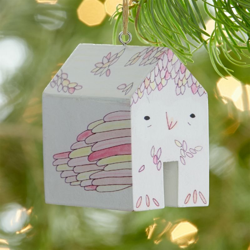 White and Pink Bird Themed Christmas Ornament