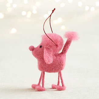 Pink Felt Poodle Dog Ornament
