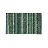"Pinstripe Jade Green Cotton 30""x50"" Rag Rug"