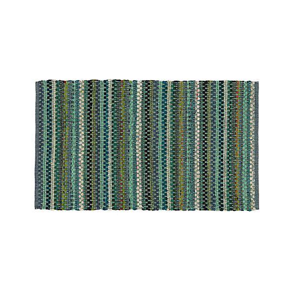 Pinstripe Jade Green Cotton Rag Rug