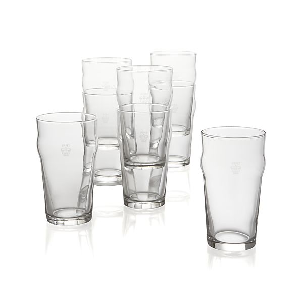 Pint Tumblers with Crown Set of Eight