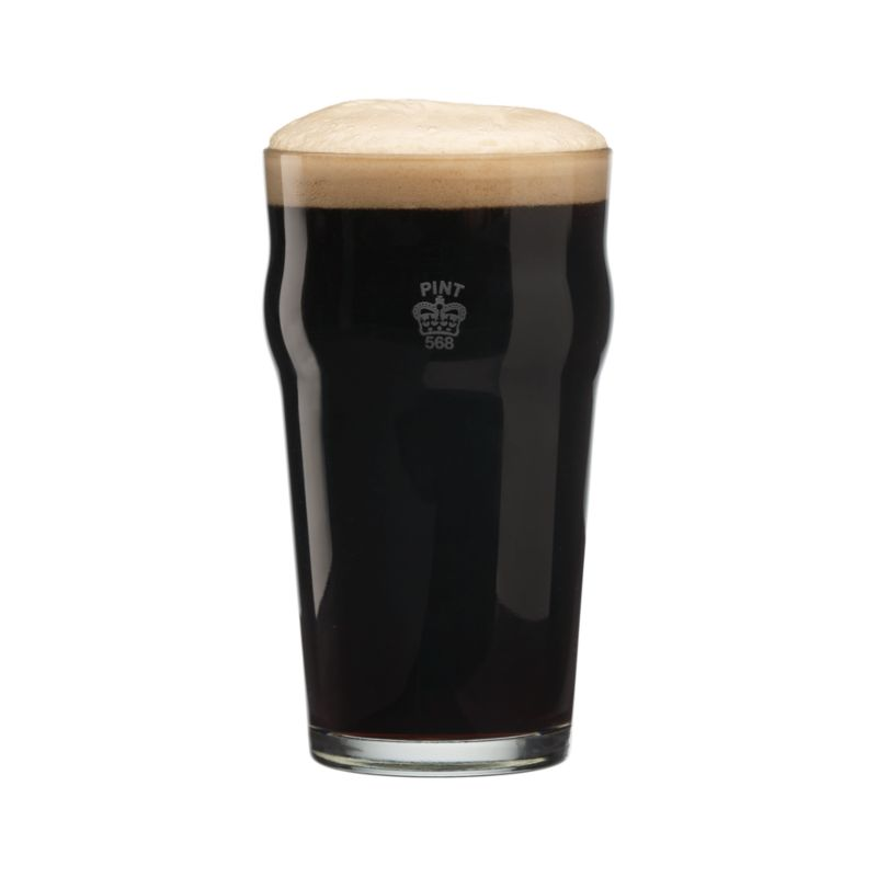 A traditional crown marks this English-style pub glass as an official imperial pint. Ideally sized for generous pours of pale ales and lagers with a curved lip to cultivate foamy heads of beer.<br /><br /><NEWTAG/><ul><li>Glass with screen print</li><li>Dishwasher safe</li><li>Made in USA</li></ul>