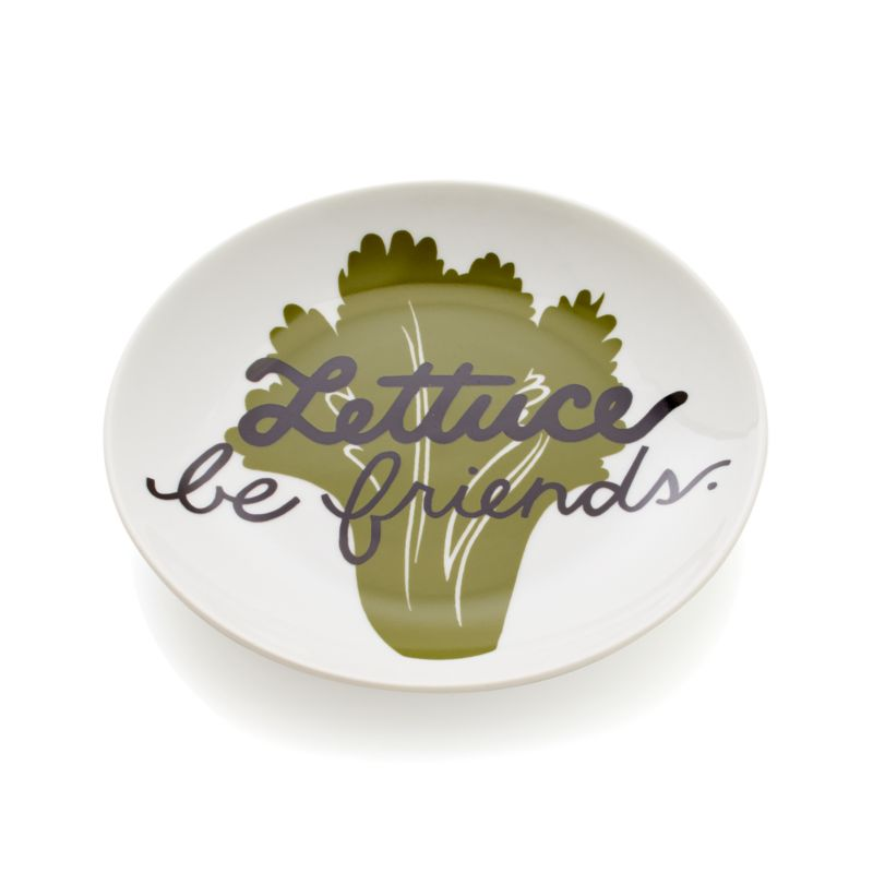 "Conversation-starting white porcelain plates showcase whimsical wordplay inscribed across fresh produce silhouettes in a range of tasty hues. Lettuce plate suggests ""lettuce be friends.""<br /><br /><NEWTAG/><ul><li>Porcelain</li><li>Dishwasher-, microwave- and oven-safe to 350 degrees</li><li>Made in China</li></ul>"