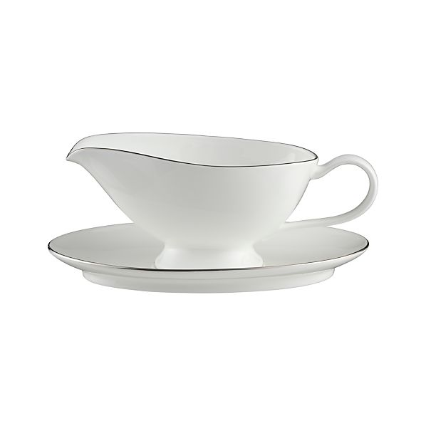 Platinum Rim Gravy Boat with Saucer