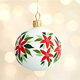 Poinsettia White Ball Ornament