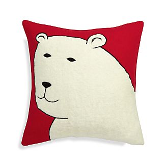 "Polar Bear 23"" Pillow with Feather Insert"