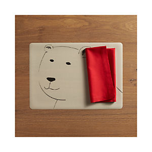Polar Bear Easy Care Placemat and Fete Cherry Cotton Napkin