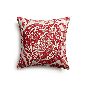 "Pomegranate 16"" Pillow with Feather-Down Insert"