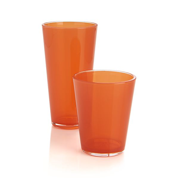 Pop Orange Acrylic Drink Glasses