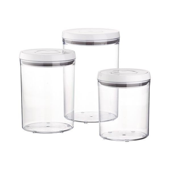 Oxo Stainless Steel Trash Can: 3-Piece OXO ® Pop Round Containers With Lids Set