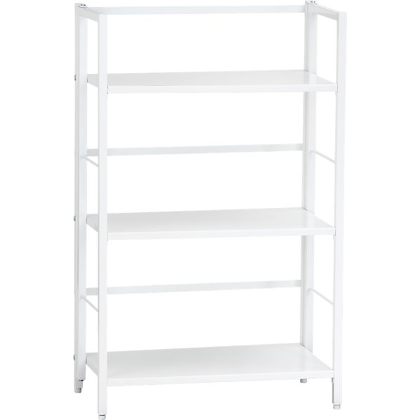 Pop Up White Folding Three-Shelf Bookcase