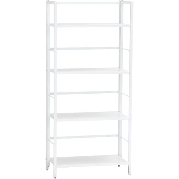 Pop Up White Folding Four-Shelf Bookcase