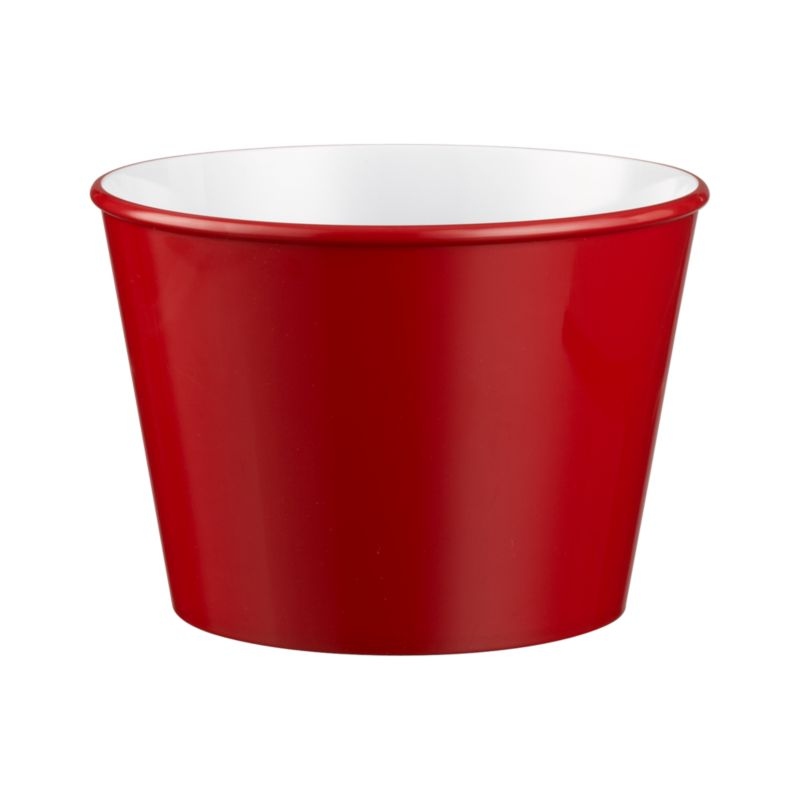 Versatile popcorn tub with a bright red exterior and white interior has the look of ceramic in durable melamine. Fill with popcorn for movie night or use it for entertaining year round.<br /><br /><NEWTAG/><ul><li>100% melamine</li><li>Top-rack dishwasher-safe</li><li>Made in China</li></ul>
