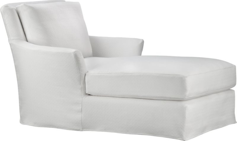 "Modern meets grace in this versatile new classic for living or family room. Slipcover fabric for Portico Chaise is tumble-washed repeatedly to achieve the soft, lived-in feel of a favorite weekend shirt.<br /><br />Additional <a href=""http://crateandbarrel.custhelp.com/cgi-bin/crateandbarrel.cfg/php/enduser/crate_answer.php?popup=-1&p_faqid=125&p_sid=DMUxFvPi"">slipcovers</a> available below and through stores featuring our Furniture Collection.<br /><br />After you place your order, we will send a fabric swatch via next day air for your final approval. We will contact you to verify both your receipt and approval of the fabric swatch before finalizing your order.<br /><br /><NEWTAG/><ul><li>Prewashed cotton-polyester blend slipcover with topstitch detail</li></ul><br />"