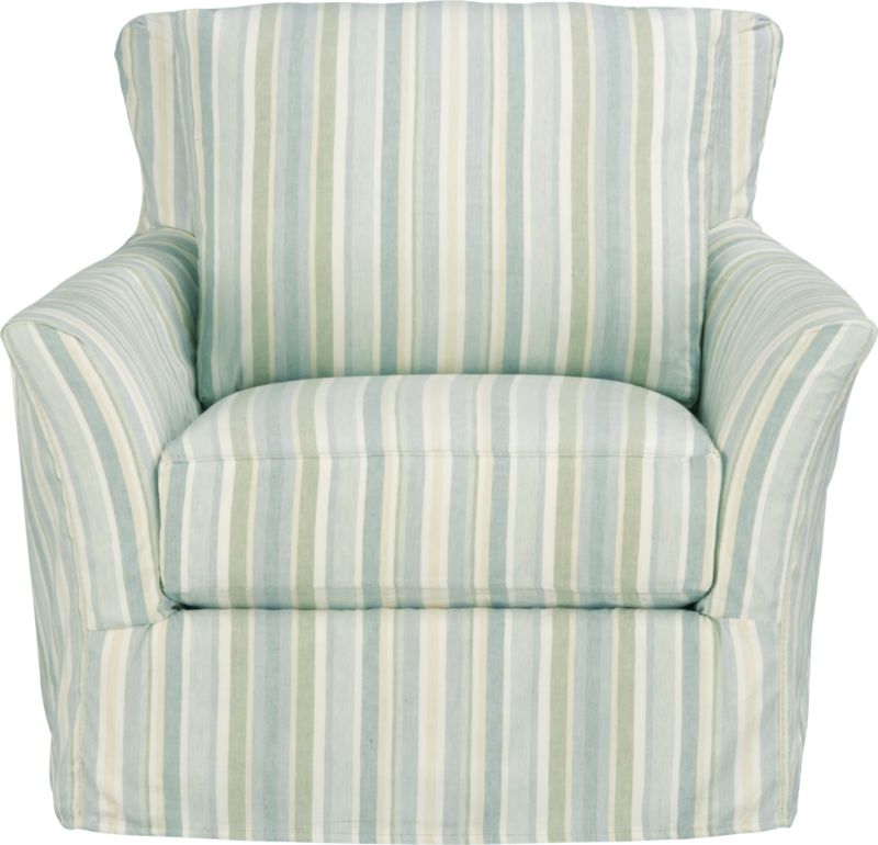 "Modern meets grace in this versatile new classic for living or family room. Slipcover fabric for Portico Chair is tumble-washed repeatedly to achieve the soft, lived-in feel of a favorite weekend shirt.<br /><br />Additional <a href=""http://crateandbarrel.custhelp.com/cgi-bin/crateandbarrel.cfg/php/enduser/crate_answer.php?popup=-1&p_faqid=125&p_sid=DMUxFvPi"">slipcovers</a> available below and through stores featuring our Furniture Collection.<br /><br />After you place your order, we will send a fabric swatch via next day air for your final approval. We will contact you to verify both your receipt and approval of the fabric swatch before finalizing your order.<br /><br /><NEWTAG/><ul><li>Linen-cotton blend with topstitch detail</li><li>Machine wash</li></ul>"