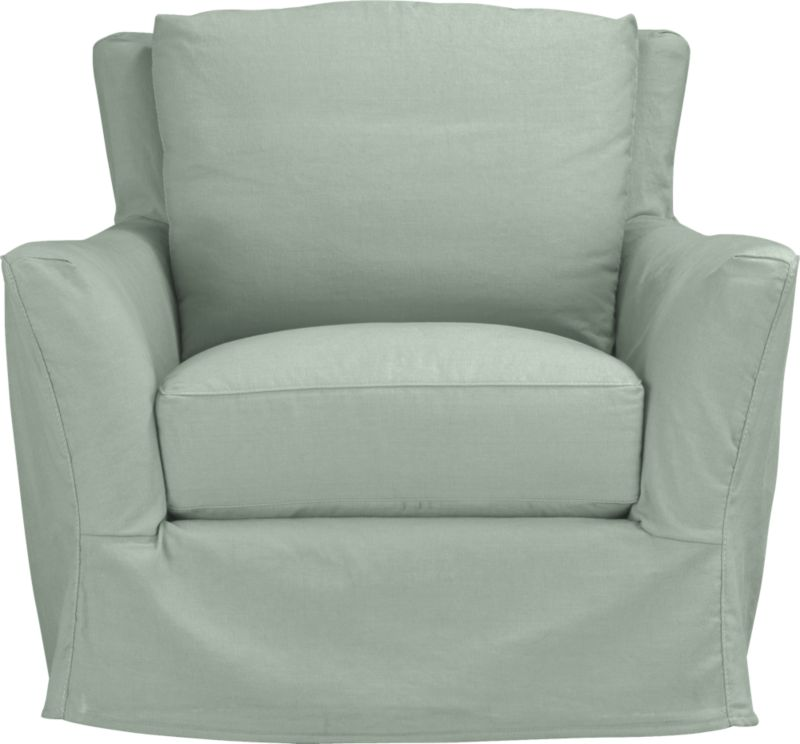 "Modern meets grace in this versatile new classic for living or family room. Unexpected clean, slim arms outwardly gesture, curve and wrap back to create a soft, relaxed silhouette from all angles. Luxe cushions relax deep. Slipcover is prewashed for a soft lived-in touch.<br /><br />Additional <a href=""http://crateandbarrel.custhelp.com/cgi-bin/crateandbarrel.cfg/php/enduser/crate_answer.php?popup=-1&p_faqid=125&p_sid=DMUxFvPi"">slipcovers</a> available below and through stores featuring our Furniture Collection.<br /><br />After you place your order, we will send a fabric swatch via next day air for your final approval. We will contact you to verify both your receipt and approval of the fabric swatch before finalizing your order.<br /><br /><NEWTAG/><ul><li>Eco-friendly construction</li><li>Certified sustainable, kiln-dried hardwood frame</li><li>Seat cushion with inner spring coil system surrounded by polyfoam with feather-down blend encased in downproof ticking</li><li>Flexolator spring suspension</li><li>Swivel mechanism</li><li>Back cushion is 100% down mix wrapped in downproof ticking</li><li>Polyester-cotton blend slipcover with topstitching</li><li>Benchmade</li><li>See additional frame options below</li><li>Made in North Carolina, USA</li></ul>"