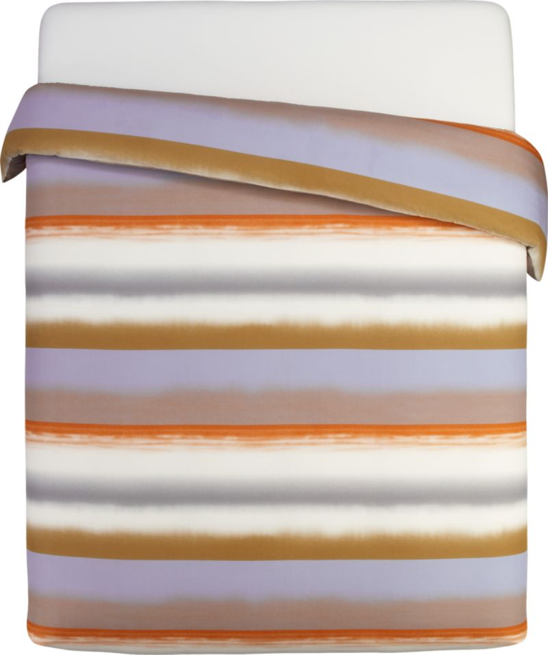 "Painterly bands blur in designer Fujiwo Ishimoto's 2003 dramatic tonal stripe, Poukama (""cove""). Capturing an artful tension between simplicity and excitement, this study is representative of Ishimoto's focus on graduated shadings and the artful transition of colors one to the next. Reversible duvet cover has a hidden button closure at the bottom and interior fabric ties to hold the insert in place. Duvet inserts also available.<br /><br /><NEWTAG/><ul><li>Pattern designed by Fujiwo Ishimoto; 2003</li><li>100% cotton percale</li><li>300-thread-count</li><li>Machine wash cold</li><li>Made in Pakistan</li></ul>"