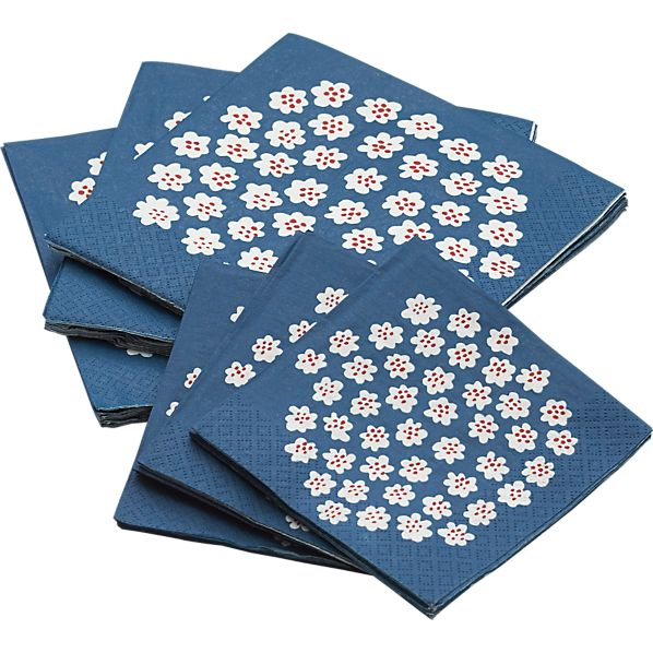 Marimekko Puketti Blue and White Paper Napkins Sets of 20