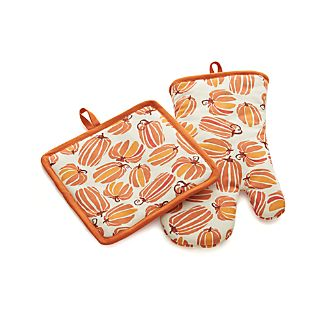Autumn Pumpkins Potholder and Oven Mitt