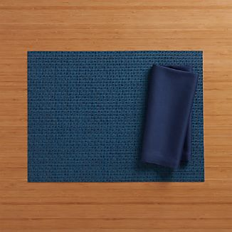 Chilewich ® Purl Blue Placemat and Fete Blue Cotton Napkin