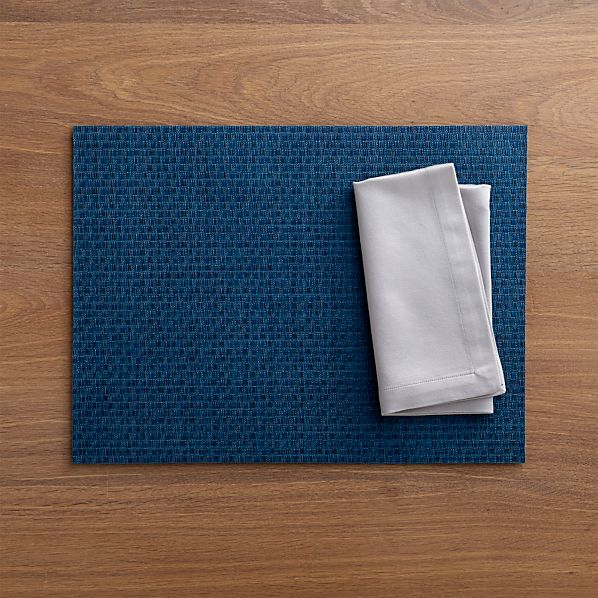 Chilewich® Purl Blue Placemat and Sateen Silver Napkin