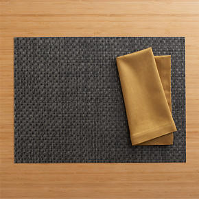 Chilewich Purl Graphite Placemat and Sateen Gold Napkin