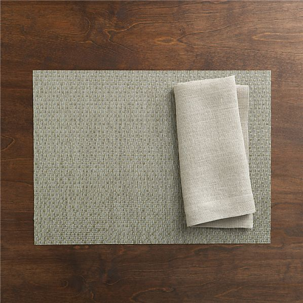 Chilewich® Purl Silver Placemat and Kelsey Natural Linen Napkin