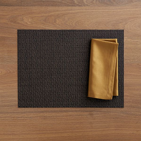 Chilewich ® Purl Bronze Placemat and Sateen Gold Napkin