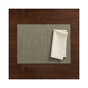 Chilewich ® Purl Silver Placemat and Fete Vanilla Cotton Napkin