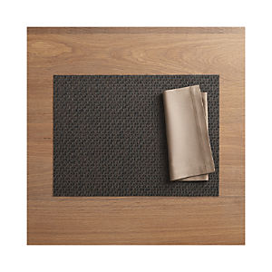 Chilewich ® Purl Bronze Placemat and Fete Brindle Cotton Napkin