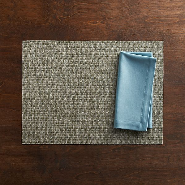 Chilewich® Purl Silver Placemat and Sateen Smoke Blue Napkin