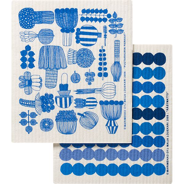 Marimekko Puutarhurin Parhaat and Räsymatto Dishcloths Set of Two