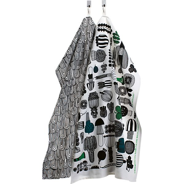 Set of 2 Marimekko Puutarhurin Parhaat Black and White Dishtowels