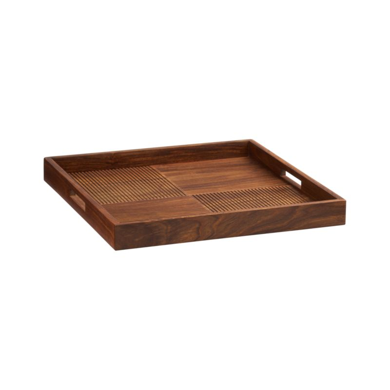 Carved texture in counterpoint adds decorative interest to this contemporary four-square tray, crafted of beautiful shesham wood with raised rim.<br /><br /><NEWTAG/><ul><li>100% shesham wood</li><li>Clean with a soft cloth</li><li>Made in India</li></ul>