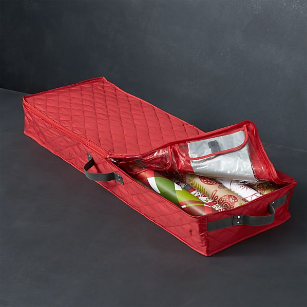 Quilted Red Wrapping Paper Bin