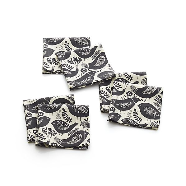 Set of 6 Quirky Birds Cocktail Napkins