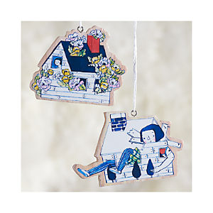 Quirky House Ornaments Set of Two