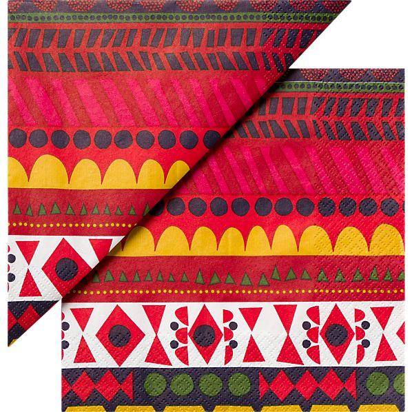 """Set of 20 Marimekko Raanu Paper 6.5"""" Napkins"""