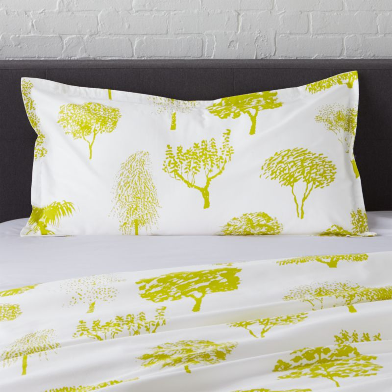 "Global forest plants citron silhouettes of the world's trees on crisp white cotton percale bedding, artfully rendered in designer Fujiwo Ishimoto's painted design. Inspired by his observations of nature in many settings, the pattern is named Rantapuisto, a Finnish word meaning ""beach park."" Sham has a 1"" flange and generous overlapping back closure. Bed pillows available.<br /><br /><NEWTAG/><ul><li>Designed by Fujiwo Ishimoto</li><li>100% cotton percale</li><li>300-thread-count</li><li>1"" flange and overlapping back closure</li><li>Machine wash cold, tumble dry low; warm iron as"