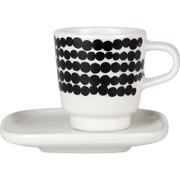 2-Piece Marimekko Siirtolapuutarha Räsymatto Black and White Espresso Cup and Plate Set