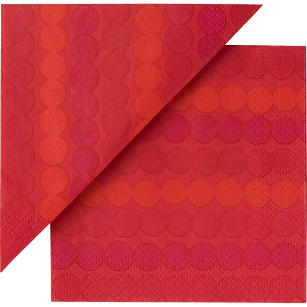 "Set of 20 Marimekko Räsymatto Red Paper 4.75"" Napkins"