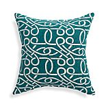 """Raya Azure Blue 18"""" Pillow with Feather-Down Insert"""
