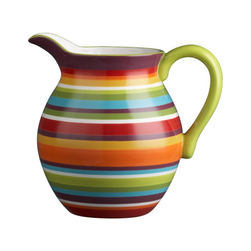 A contemporary take on Latin-inspired stripes, clean and colorful in a radial rainbow. White interior; solid green handle.<br /><br /><NEWTAG/><ul><li>Earthenware</li><li>Dishwasher- and microwave-safe</li><li>Made in China</li></ul>