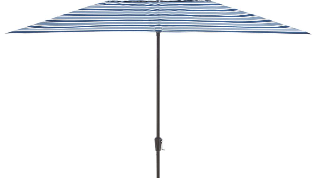 Rectangular Blue Striped Umbrella Canopy In Patio