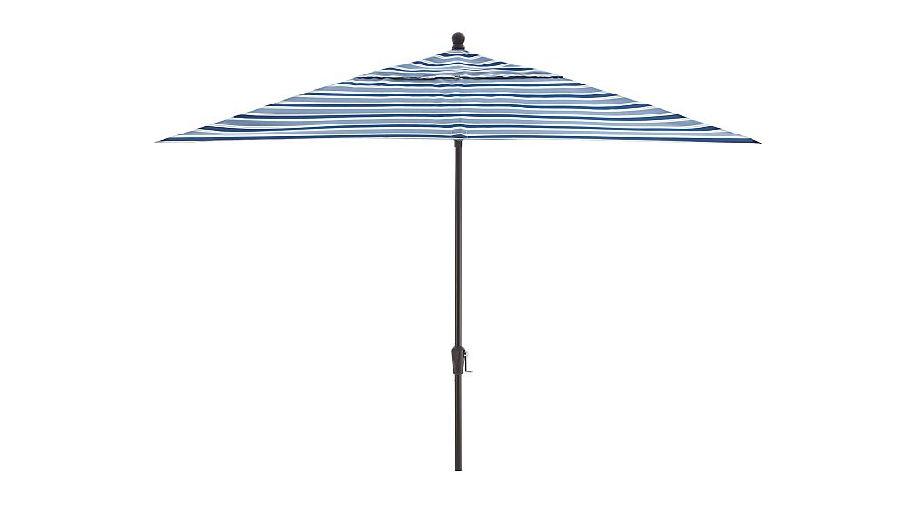 Rectangular Blue Striped Patio Umbrella with Black Frame in Patio Umbrellas : Crate and Barrel