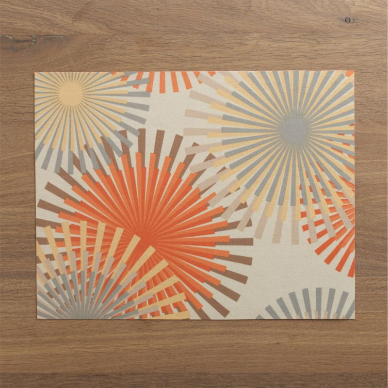 Green from start to finish, this recycled placemat is digitally printed with graphic starbursts in classic mid-century hues on one side and solid orange on the reverse. Eco-friendly dyeing and printing process eliminates major pollutants.<br /><br /><NEWTAG/><ul><li> 100% recycled plastic drinking bottles</li><li> Wipe clean</li><li>Made in USA and Taiwan </li></ul>