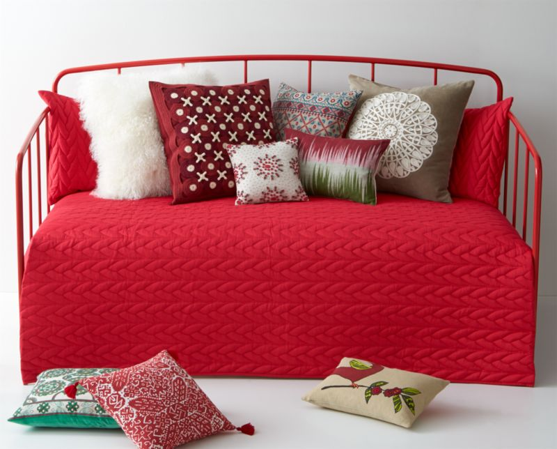 Braided cotton rope design cozies the bed with loads of quilted texture in rosy red that looks festive all by itself or layered with loads of decorative pillows.<br /><br /><NEWTAG/><ul><li>100% cotton</li><li>Machine wash, tumble dry low</li><li>Made in India</li></ul>